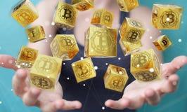 Femme d'affaires employant le rendu du cryptocurrency 3D de bitcoins Images libres de droits