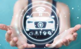 Femme d'affaires employant le rendu futé moderne de l'interface 3D de voiture Photo libre de droits