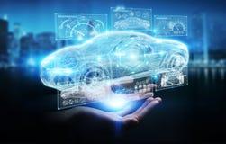 Femme d'affaires employant le rendu futé moderne de l'interface 3D de voiture Photos libres de droits