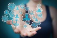 Femme d'affaires employant le rendu médical moderne de l'interface 3D Photo stock