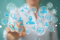 Femme d'affaires employant le rendu médical moderne de l'interface 3D Images libres de droits