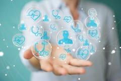 Femme d'affaires employant le rendu médical moderne de l'interface 3D Photo libre de droits