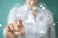 Femme d'affaires employant le rendu médical moderne de l'interface 3D Image stock