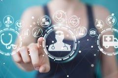 Femme d'affaires employant le rendu médical numérique de l'interface 3D Photographie stock