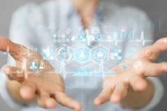 Femme d'affaires employant le rendu médical numérique de l'interface 3D Image stock