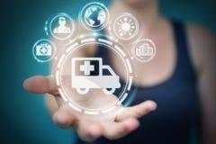 Femme d'affaires employant le rendu médical numérique de l'interface 3D Photographie stock libre de droits