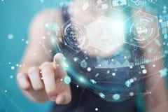 Femme d'affaires employant le rendu médical numérique de la sphère 3D Image stock