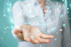 Femme d'affaires employant le rendu médical numérique de la sphère 3D Images libres de droits