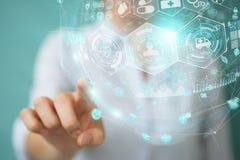 Femme d'affaires employant le rendu médical numérique de la sphère 3D Photos stock