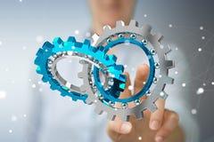 Femme d'affaires employant le rendu moderne de flottement du mécanisme de vitesse 3D Images libres de droits