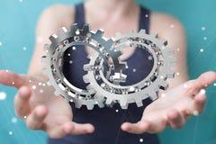 Femme d'affaires employant le rendu moderne de flottement du mécanisme de vitesse 3D Images stock