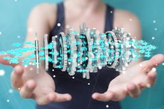 Femme d'affaires employant le rendu moderne de flottement du mécanisme de vitesse 3D Image libre de droits