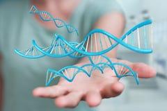 Femme d'affaires employant le rendu moderne de la structure 3D d'ADN Image stock