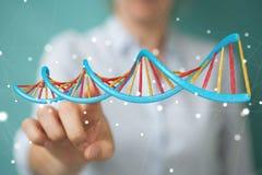 Femme d'affaires employant le rendu moderne de la structure 3D d'ADN Photos libres de droits