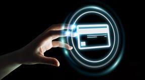 Femme d'affaires employant le rendu numérique de l'interface 3D de paiement Photo libre de droits