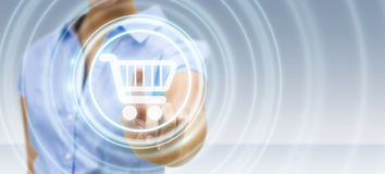 Femme d'affaires employant le rendu numérique de l'interface 3D de paiement Photos libres de droits
