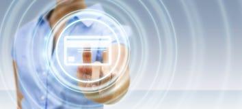 Femme d'affaires employant le rendu numérique de l'interface 3D de paiement Photographie stock libre de droits