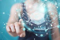 Femme d'affaires employant le rendu numérique de la sphère 3D de données d'hologrammes Photographie stock