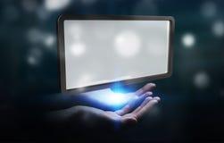 Femme d'affaires employant le rendu numérique du comprimé 3D d'écrans Images stock