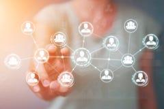 Femme d'affaires employant le rendu social de la connexion réseau 3D Photos libres de droits