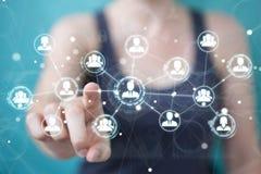 Femme d'affaires employant le rendu social de la connexion réseau 3D Photographie stock