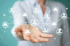 Femme d'affaires employant le rendu social de la connexion réseau 3D Photos stock