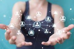 Femme d'affaires employant le rendu social de la connexion réseau 3D Photo libre de droits