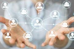 Femme d'affaires employant le rendu social de la connexion réseau 3D Images stock