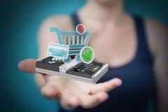 Femme d'affaires employant le rendu terminal sans contact du paiement 3D Images libres de droits