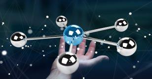 Femme d'affaires employant le rendu volant du réseau 3D des sphères 3D Images stock