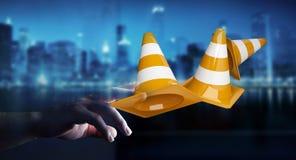 Femme d'affaires employant 3D numérique rendant le signe en construction Photographie stock