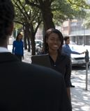 Femme d'affaires en dehors de 1 image libre de droits