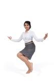Femme d'affaires en position de yoga Photographie stock libre de droits