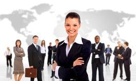 Femme d'affaires et équipe de shis Photos stock