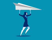 Femme d'affaires et avions de papier Images stock