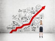 Femme d'affaires et croissance de carrière image stock