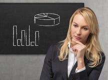 Femme d'affaires et diagramme Image stock