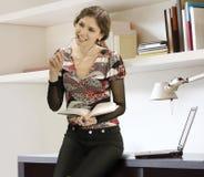 Femme d'affaires et livres Photographie stock