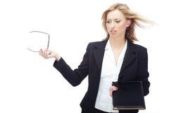 Femme d'affaires et vent Images stock