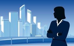 Femme d'affaires et ville Image stock