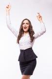 Femme d'affaires euphorique et jeune Expression de succès Images stock