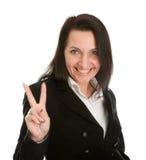 Femme d'affaires Excited célébrant la réussite Image stock