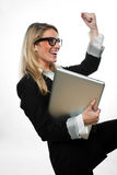 Femme d'affaires exultante encourageant un succès photos libres de droits