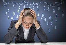 Femme d'affaires faisant face à des problèmes Photographie stock