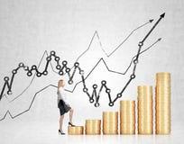 Femme d'affaires financière de croissance Images stock