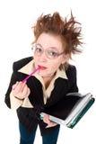 Femme d'affaires folle chargée Image stock