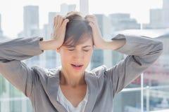 Femme d'affaires frustrante avec des mains sur la tête Images stock