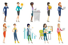 Femme d'affaires, hôtesse, ensemble de profession de docteur illustration stock