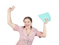Femme d'affaires heureuse avec des documents Photographie stock libre de droits