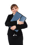 Femme d'affaires heureuse avec la serviette Photographie stock libre de droits